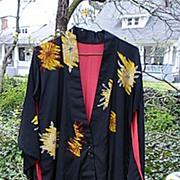 SALE Chrysanthemums Vintage 40's 50's Rayon Crepe Kimono