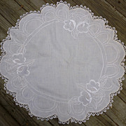 SOLD Vintage Linen Arts & Crafts Embroidered Round White Table Topper