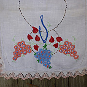 SALE Hearts and Flowers Hand Embroidered Dresser Scarf Runner