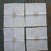 Oriental Yellow Gold Embroidered Damask Napkins Set of 4