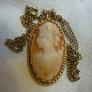SALE Elegant Lady Oval Shell Cameo Necklace 14K Gold Filled