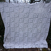 SALE Romantic Roses Quilt Blocks Pattern White Crochet Bedspread