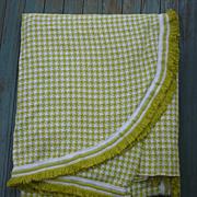 SALE Handsome Houndstooth Check Yellow Green White Morgan Jones Bedspread