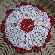 SOLD Red and White Crochet 20 Inch Round Centerpiece Doily