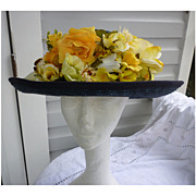 SALE Exclusively For You Lord & Taylor Yellow Flowers Blue Straw Hat