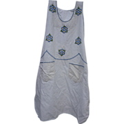 Embroidered Flowers Vintage 1930s Full Apron