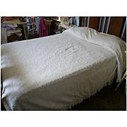 Morgan Jones Minuet White Hobnail Chenille Bedspread Vintage 1940s  Full Size