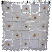 Embroidered Blocks White Linen Tablecloth with Fancy Crochet Sash and Edge Trim