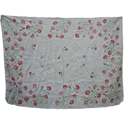 Pink Carnations Print Linen Tablecloth