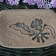 SALE Hand Beaded White Satin Clutch Purse Pearls Flowers Vintage Japan