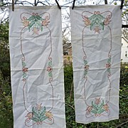SALE Pair Cottage Tulips and Scrolls Embroidered Linen Runners