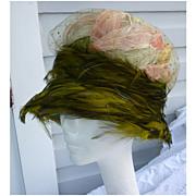 SALE Vintage Christian Dior Chapeaux Hat Feathers Glitter Net