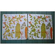 SOLD Set of 2 Vera Neumann Vegetables Print Napkins