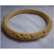 SALE Carved Faux Ivory Celluloid Asian Dragons Bangle Bracelet
