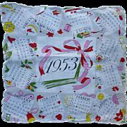 SOLD Vintage 1953 Colorful Calendar Handkerchief