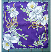 Large Orchids and Gold Bows on Purple Handkerchief Vintage 1950s