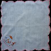 Vintage Embroidered Ocean City Souvenir Handkerchief