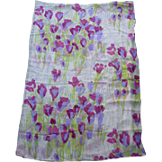 Vintage Vera Purple and Hot Pink Spring Flowers Print Silk Scarf Extra Large