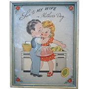 Love to My Wife on Mother's Day Vintage Print Framed