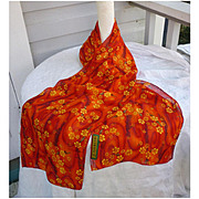 Vintage J.Garcia Long Scarf Red with Yellow Flowers