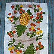 SALE Pineapples Cherries and Strawberries Linen Towel
