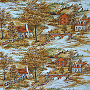 SALE Rustic Landscape with Houses by River Print Barkcloth 3 Yds