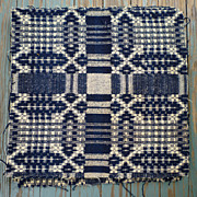 Indigo Cream Wool Jacquard Woven Coverlet Cuts