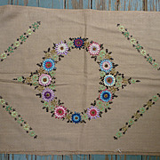 SALE Wreath of Flowers Arts & Crafts Embroidery Linen for Pillow
