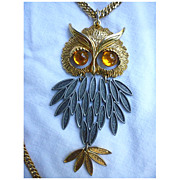 SALE Huge Articulated Owl Pendant on Chain Necklace