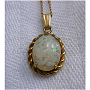 Vintage 14 K GF Opal in Frame Pendant Necklace
