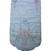 Embroidered Pink Flowers in Big Baskets Long Linen Runner