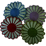 SOLD Pretty Purple Red Green Blue and White Crochet Potholders 4 Piece Set