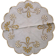 Yellow Flowers Arts & Crafts Embroidery Linen Round or Centerpiece