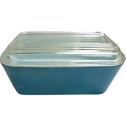 Pyrex Primary Colors Leftovers Refrigerator Half Size Blue Dish and Lid