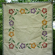 SOLD Heavy Linen Floral Embroidered Square Centerpiece or Tablecloth