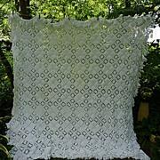 SOLD Diamond Popcorn with Open Work Pattern Hand Crochet Bedspread