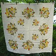 Pineapples Harvest Fruits and Vegetables Vintage Print Linen Tablecloth