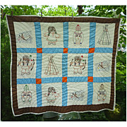 SALE Cute Little Indians in Canoes and Tepees Vintage Quilt