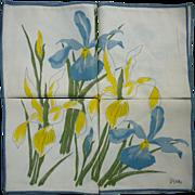 SOLD Set of 4 Vera Neumann Blue and Yellow Iris Print Napkins