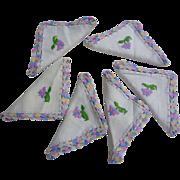 Set of 6 Floral Embroidered Crochet Edges Napkins