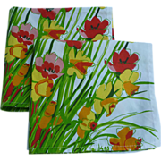 SOLD Set of 2 Vera Neumann Red Poppies and Yellow and Gold Jonquils Print Napkins