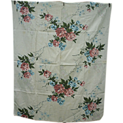 SOLD Cottage Coral Pink Roses Blue White Flowers Green Leaves Barkcloth Panel