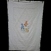 Teddy Bears on Alphabet Blocks Vintage Chenille Child's Bedspread