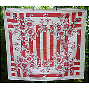 Red and White Daisies or Dahlias and Bars Vintage Print Tablecloth