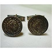Augustus Caesar Coins Silver Cufflinks