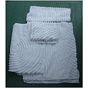 Five Pieces of Plush White Vintage Chenille for Crafting