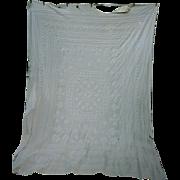 SALE Fancy Candlewick Pattern White Cutter Chenille Spread