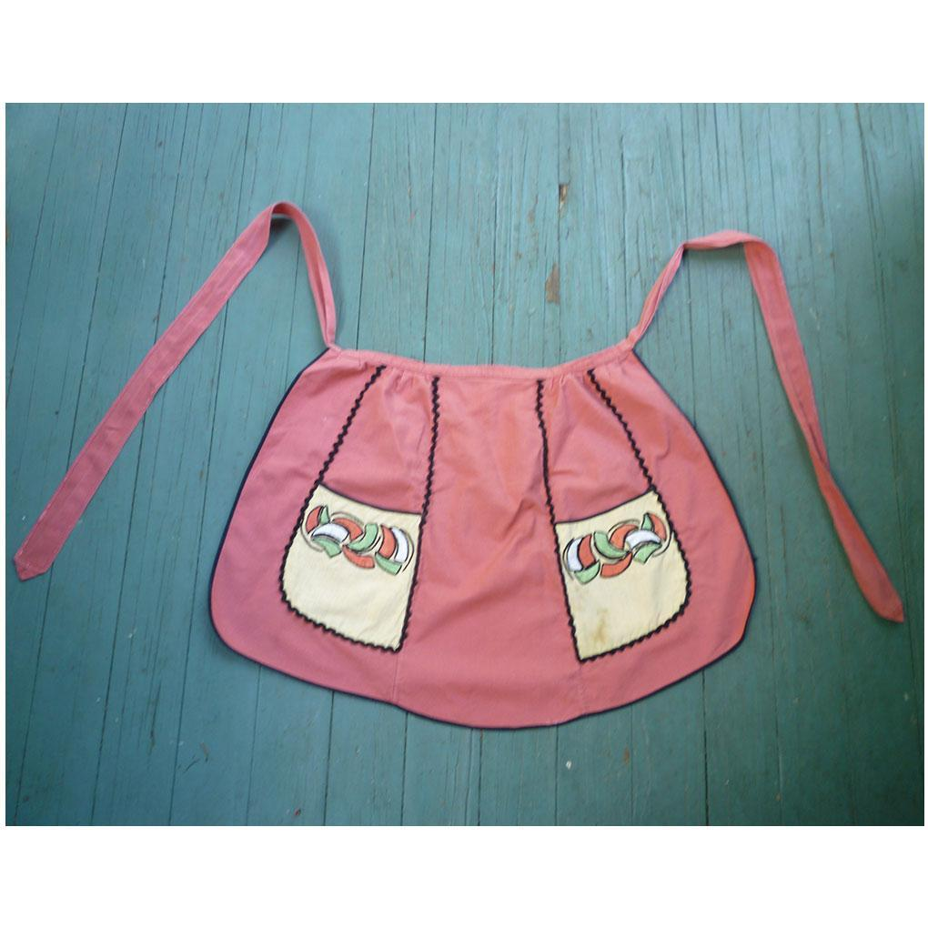 Arts Amp Crafts Embroidered Flowers On Pockets Apron From