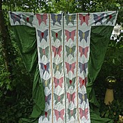 SALE Applique Butterflies Quilt Coverlet With Skirts Twin