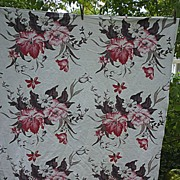 SALE Huge Red and Pink Flowers Brown Leaves Barkcloth